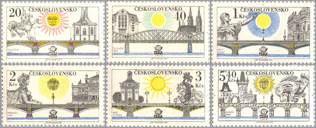 #2179-2184 Czechoslovakia - Prague Bridges, PRAGA 1978 (MNH)