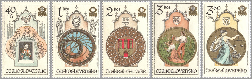 #2185-2189 Czechoslovakia - Town Hall Clock, Prague, by Josef Manes (MNH)