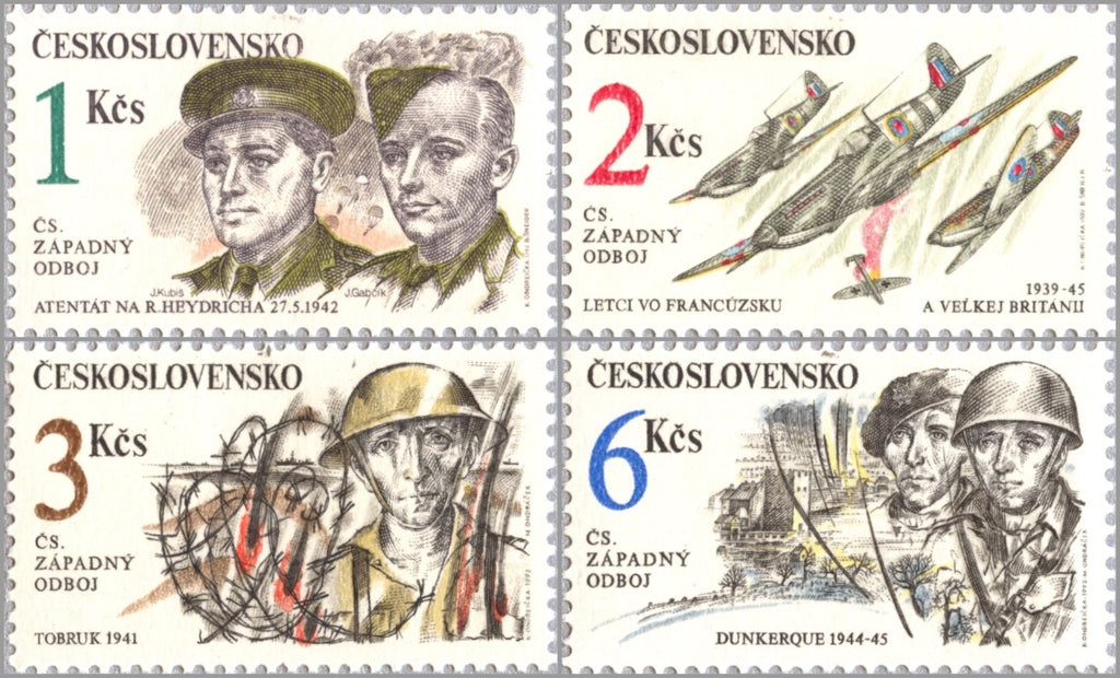 #2857-2860 Czechoslovakia - Czechoslovak Military Actions in WWII (MNH)