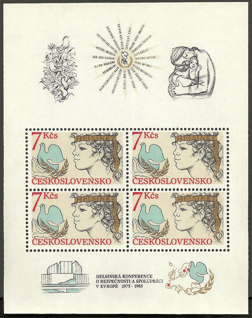 #2567a Czechoslovakia - Helsinki Conference on Security and Cooperation, 10th Anniv., Perf. S/S