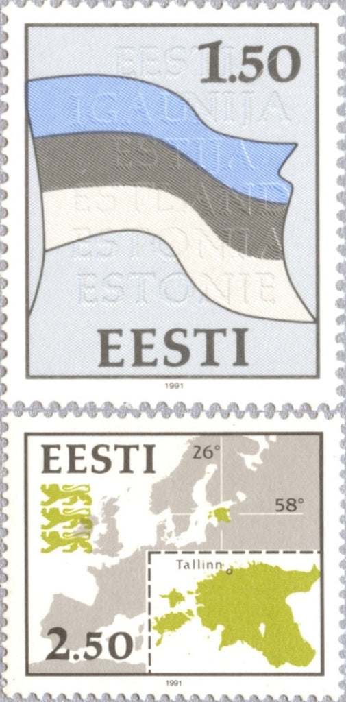 #209-210 Estonia - Flag and Map (MNH)