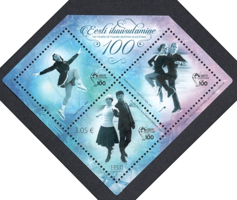 #838 Estonia - Figure Skating in Estonia, Cent. S/S (MNH)