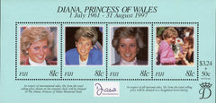 #820 Fiji - 1998 Diana, Princess of Wales, Sheet of 4 (MNH)