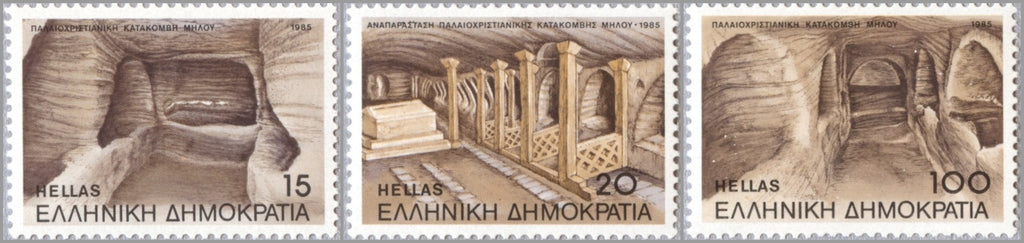 #1520-1522 Greece - Melos Catacombs, A.D., 2nd Cent., Trypete (MNH)