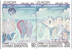 #1773Bd Greece - 1993 Europa: Contemporary Art, Booklet Stamps, Pair (MNH)