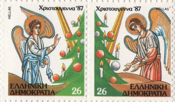 #1615b Greece - 1987 Christmas, Pair (MNH)