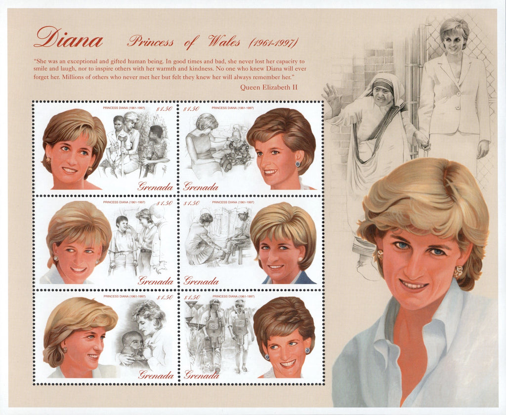 #2723-2724 Grenada - 1997 Diana, Princess of Wales, Sheet of 6 + S/S (MNH)