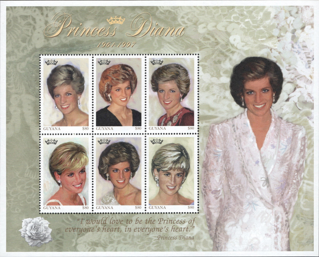 #3234 Guyana - 1997 Diana, Princess of Wales, Sheet of 6 (MNH)