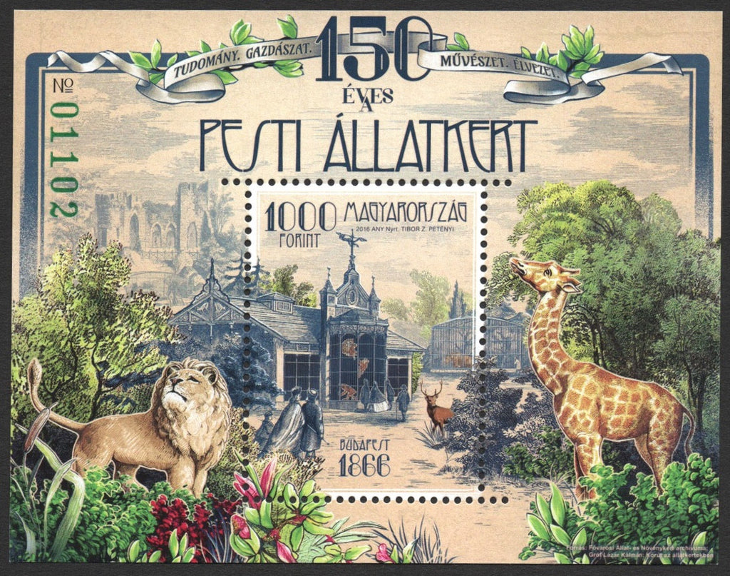 #4400 Hungary - 2016, 150th Anniv. of the Budapest Zoo and Botanical Garden, Green Serial S/S (MNH)