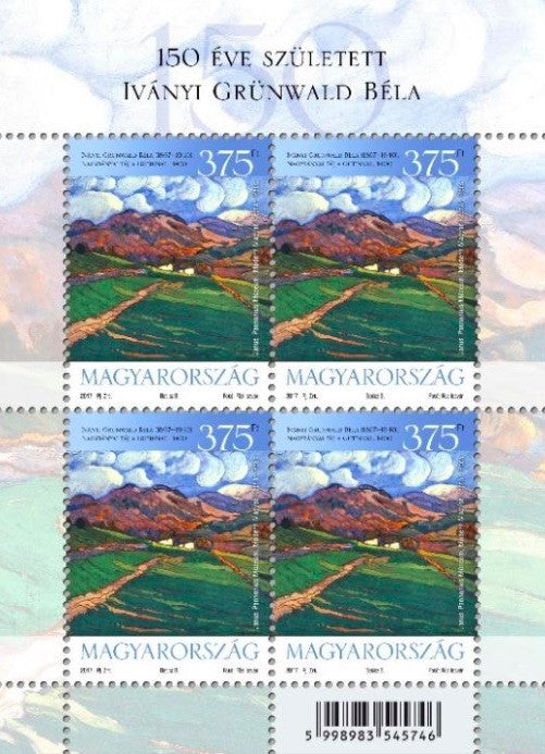 #4431 Hungary - 2017, 150th Anniv. of the Birth of Béla Iványi Grünwald M/S (MNH)