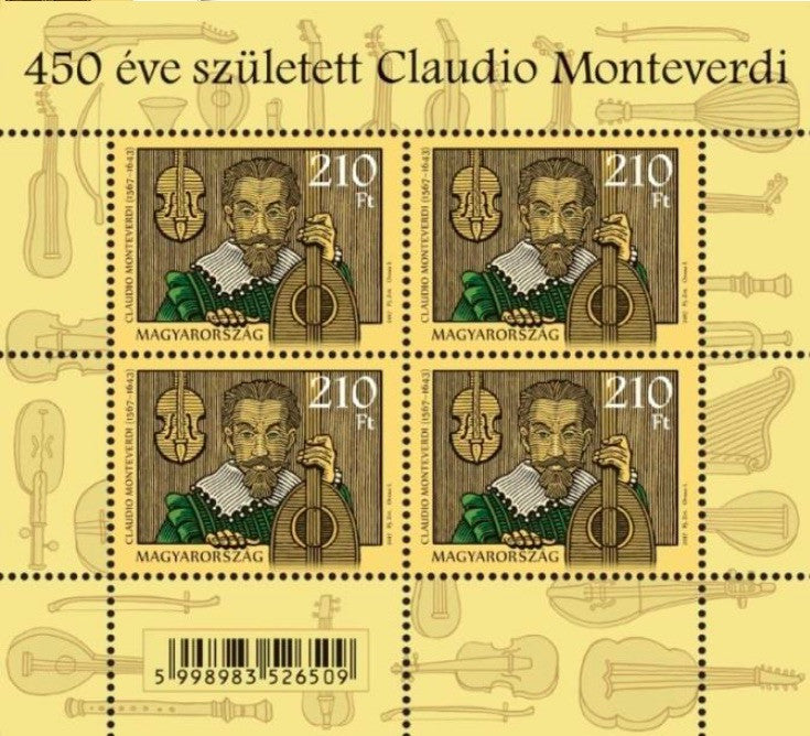 #4416 Hungary - 450th Anniv. of the Birth of Claudio Monteverdi M/S (MNH)