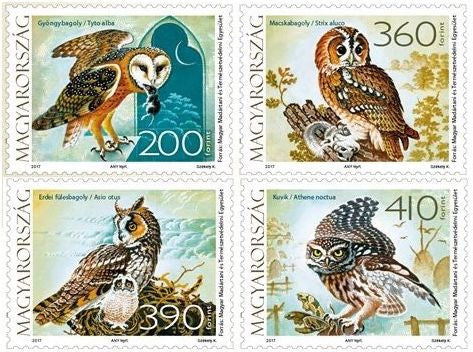 #4438 Hungary - 2017 Fauna of Hungary: Owls, Set of 4 (MNH)