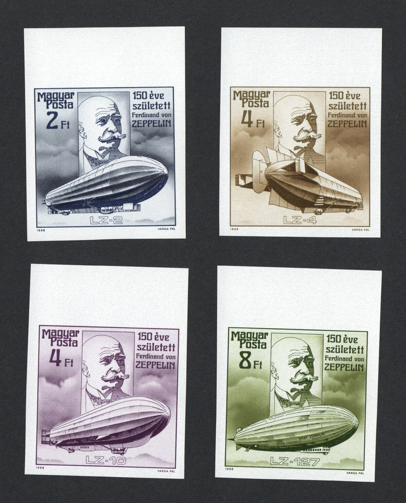 #3107-3110 Hungary - Zepplin, Imperf., Set of 4 (MNH)