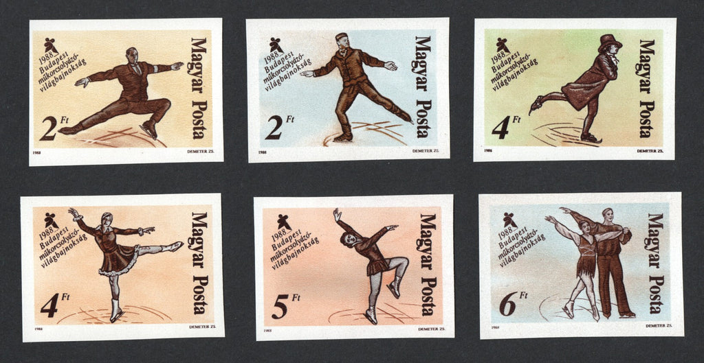 #3111-3116 Hungary - 1988 World Figure Skating Championships, Imperf (MNH)
