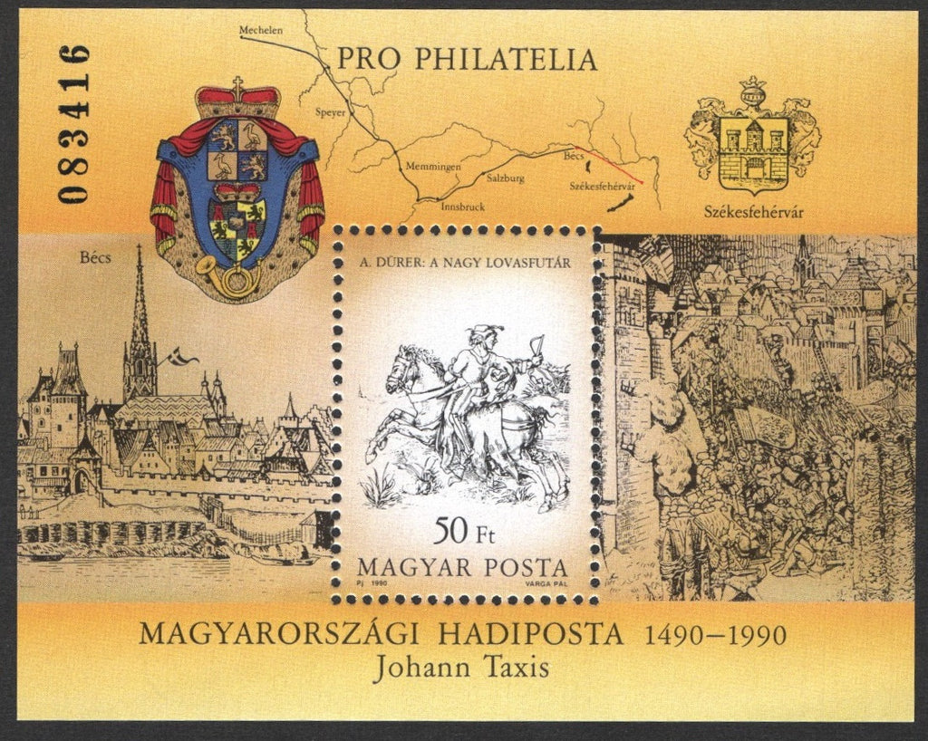#3271 Hungary - Thurn & Taxis Postal System, 500th Anniv. S/S (MNH)