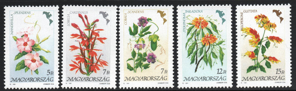 #3278-3282 Hungary - Flowers of the Continents Type (MNH)
