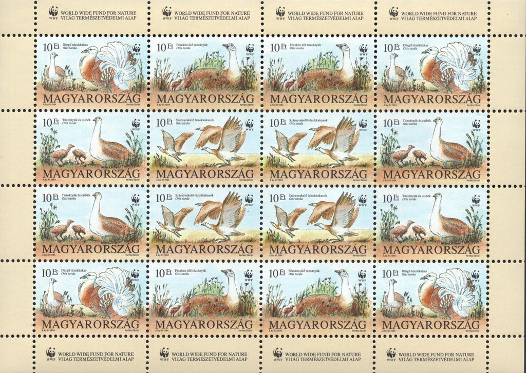 #3429a Hungary - World Wildlife Fund: Otis Tarda, Sheet of 16 (MNH)