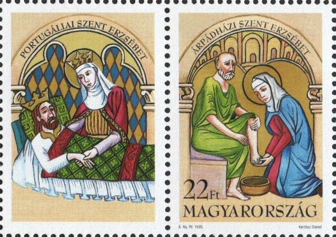 #3515 Hungary - St. Elizabeth of Hungary Bathing Lepers, Single Stamp + Label (MNH)