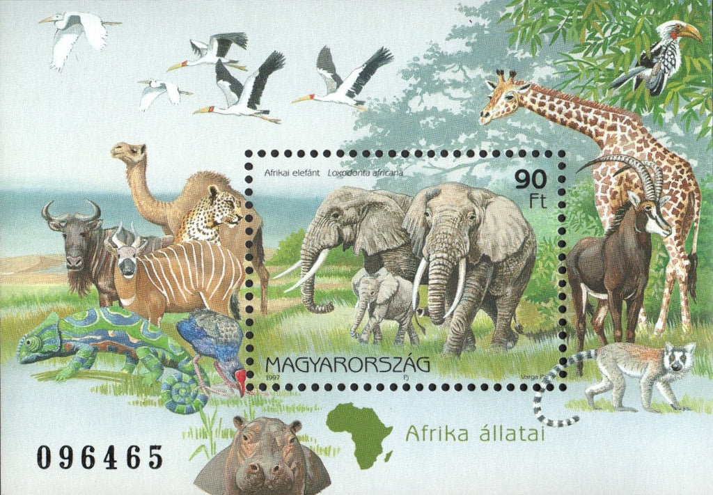 #3576 Hungary - African Animals S/S (MNH)