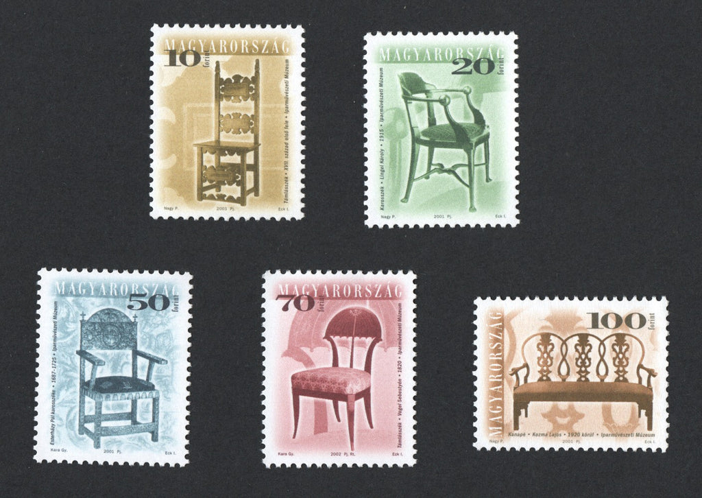 #3671-3675 Hungary - 2001 Antique Furniture (MNH)