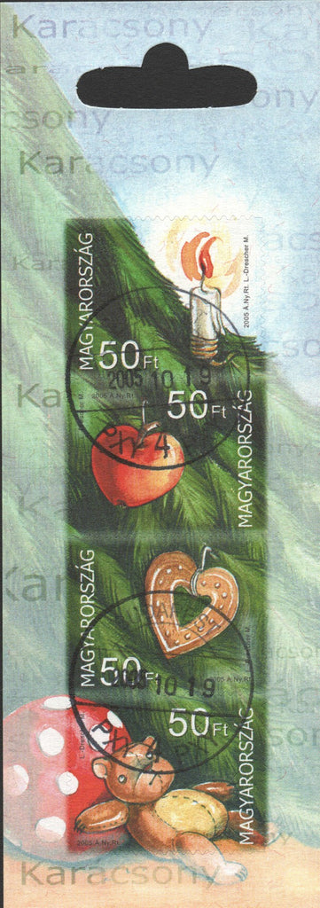 #3956 Hungary - 2005 Christmas, Booklet Pane of 4 (Used)