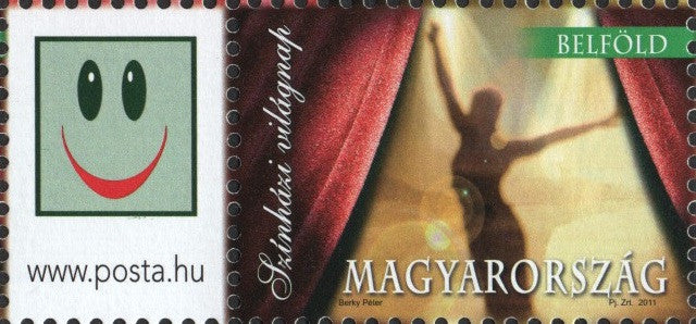 #4198 Hungary - 2011 World Theater Day, Belföld Stamp + Label (MNH)