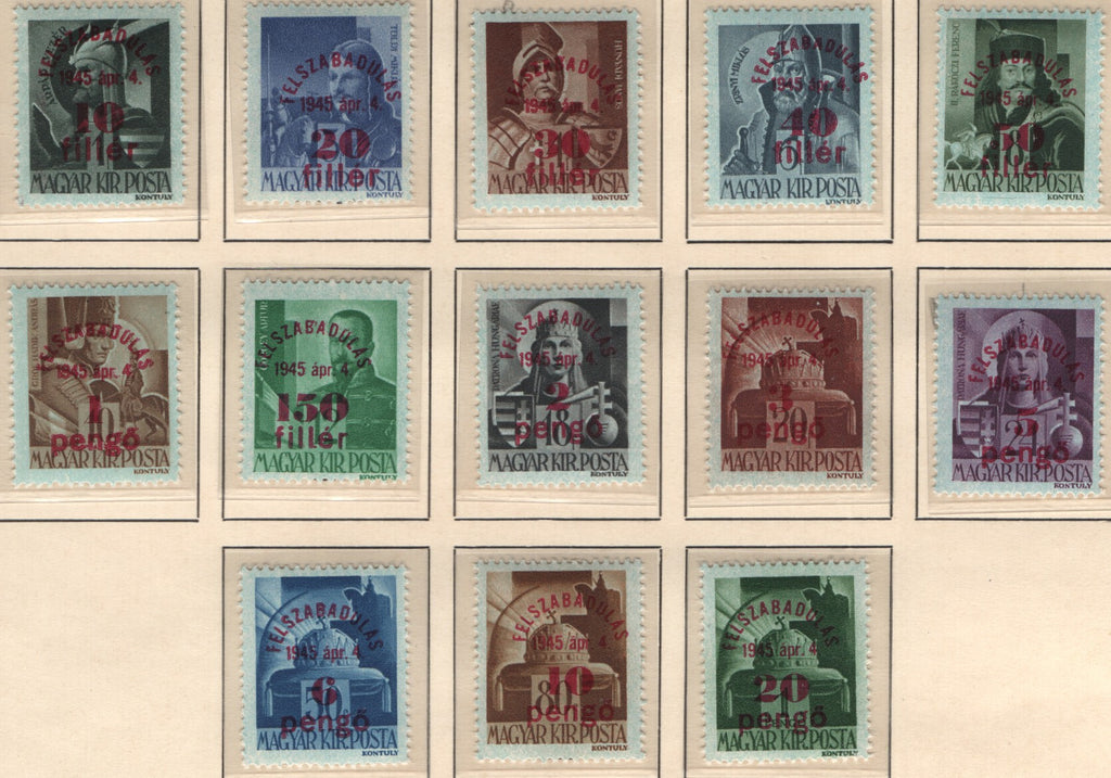 #631-656 Hungary - Types of Hungary, 1943 Surcharged in Carmine (MNH)