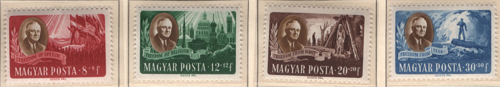 #B198A-B198D Hungary - Roosevelt and Allegory, Set of 4 (MNH)