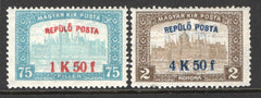 #C1-C2 Hungary - Nos. 120, 123 Surcharged in Red or Blue (MNH)