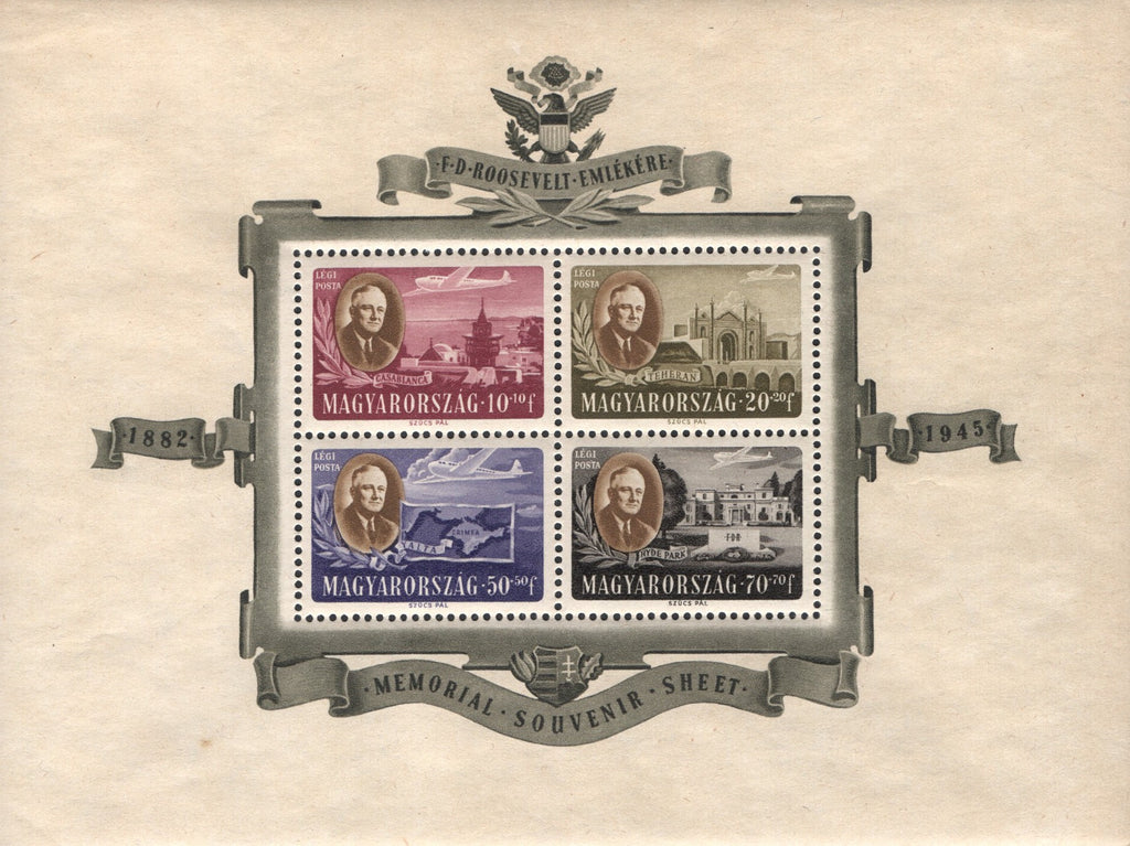 #CB1-CB1C Hungary - Roosevelt Type of Semi-Postal Stamps, 1947 Perf. S/S (MNH)