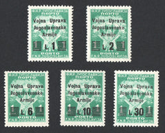 #J20-J24 Istria - Type of Yugoslavia Postage Due Stamps, 1946, Surcharged (MNH)
