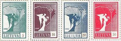 #375-378 Lithuania - Angel and Map (MNH)