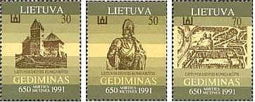 #400-402 Lithuania - Grand Duke Gedimanas (MNH)