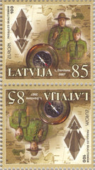 #677a Latvia - 2007 Europa: Scouting, Cent. Tete Beche Pair (MNH)