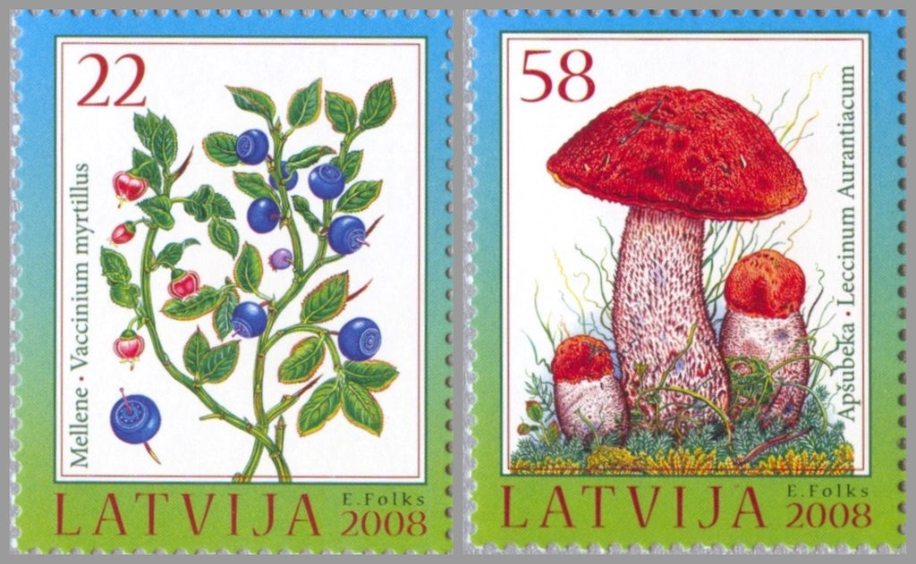 #715-716 Latvia - Berries and Mushrooms Type of 2007, Set of 2 (MNH)