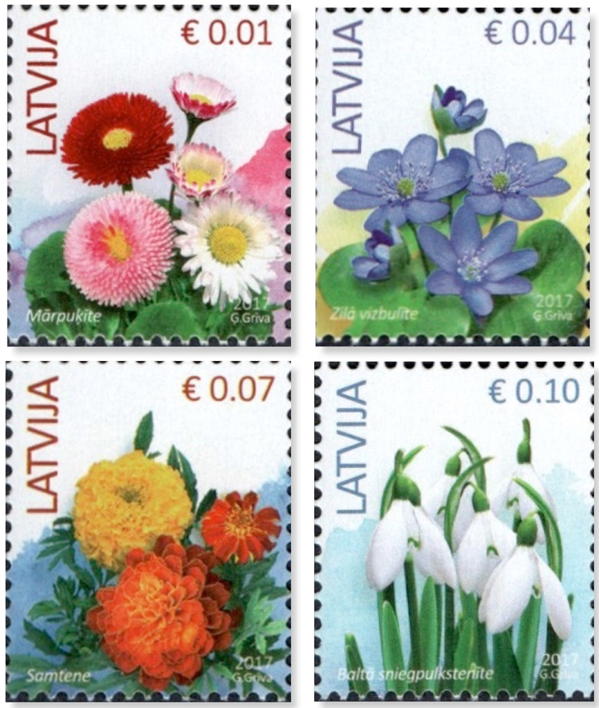 Latvia - 2017 Flowers, Definitives, Set of 4 (MNH)