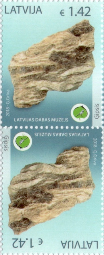 #988 Latvia - Gypsum Rock in Museum of Natural History, Tete-Beche Pair (MNH)