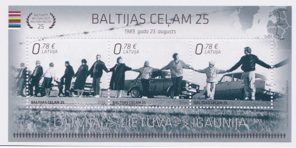 #884 Latvia - Baltic Chain Demonstration, 25th Anniv. S/S (MNH)