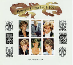 #1089 Lesotho - Diana, Princess of Wales, Sheet of 6 (MNH)