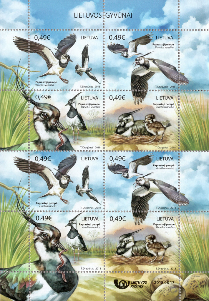 #1132 Lithuania - Birds: Vanellus Vanellus (Northern Lapwing) M/S (MNH)