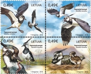 #1132 Lithuania - Birds: Vanellus Vanellus (Northern Lapwing), Block of 4 (MNH)