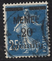 #20 Memel - Stamps of France, Surcharge (Used)
