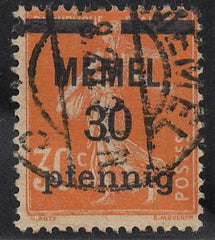 #21 Memel - Stamps of France, Surcharge (Used)