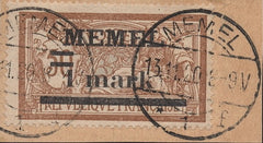 #26 Memel - Stamps of France, Surcharge (Used)