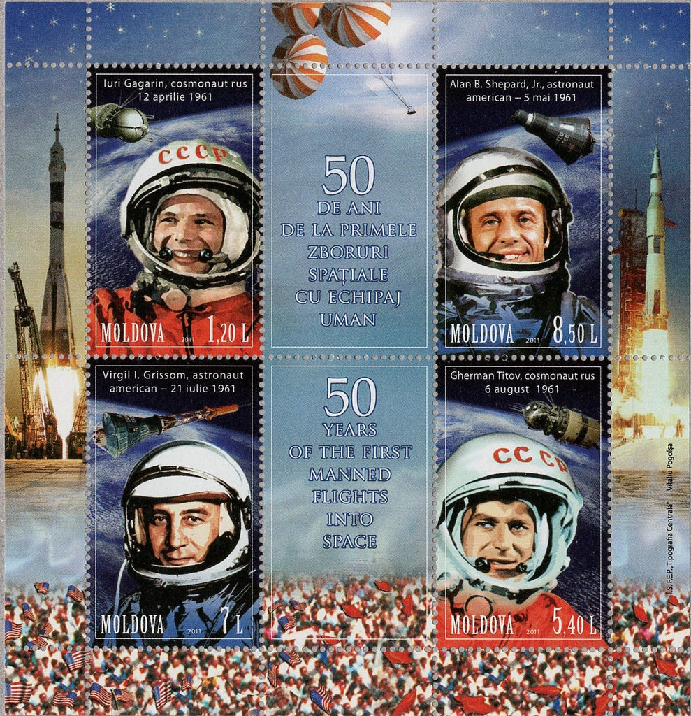 #712 Moldova - First Manned Space Flight, 50th Anniv. M/S (MNH)