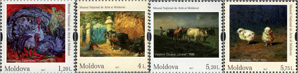 #955-958 Moldova - Paintings Depicting Animals, Set of 4 (MNH)