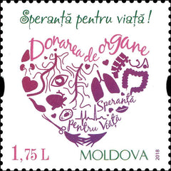 Moldova - 2018 Bring Back Hope Program: Organ Donation, Single (MNH)
