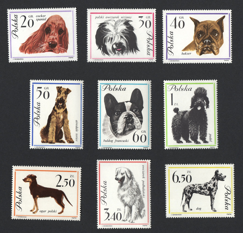 #1115-1123 Poland - Dogs, Set of 9 (MNH)