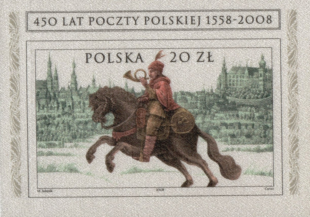 #3927 Poland - Polish Post, 450th Anniv. Imperf. S/S (MNH)