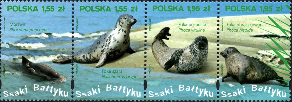 #3943 Poland - Baltic Sea Mammals, Strip of 4 (MNH)